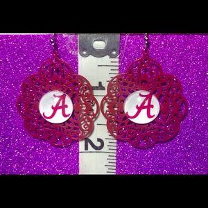 Alabama Crimson Tide Filigree Cut A Logo Earrings